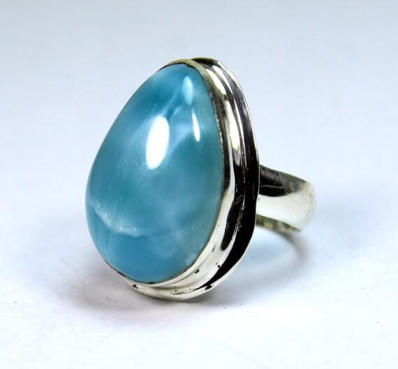 Hugh Premium Genuine Volcanic Blue AAA++ Larimar .925 Sterling Silver Ring #11  C-59-1712