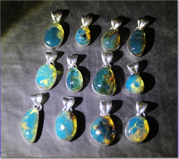 Wholesale Liquidation lot 12 Sky Blue Genuine Amber .925 Sterling Silver Pendants biggest 26mm