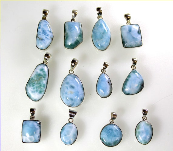 Wholesale Liquidation lot 12 Sky Blue Genuine Larimar .925 Sterling Silver Pendants 74.1 grams