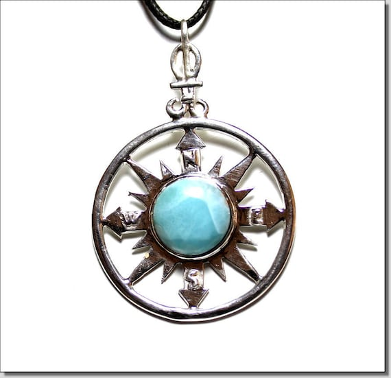 Outstanding 2.8 inch Sky Blue Larimar .925 Sterling Silver Compass Pendant 72mm   C-84-1812