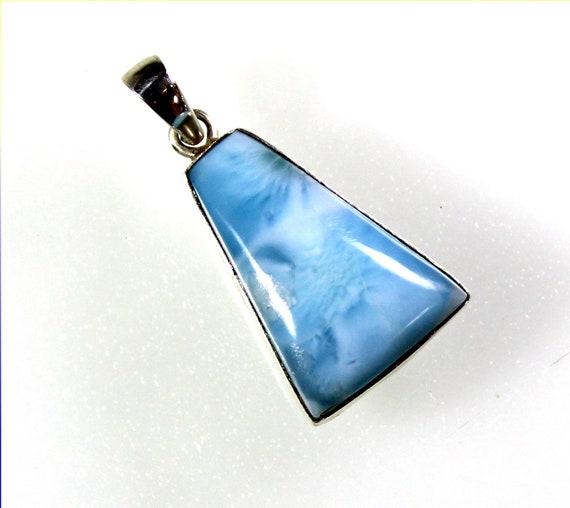 Impressive Natural Sky Blue Larimar .925 Sterling Silver Pendant 1.2inch