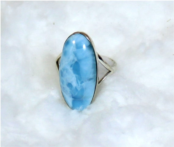 Impressive 1 inch big Natural Sky Blue Larimar .925 Sterling Silver Ring #8.5