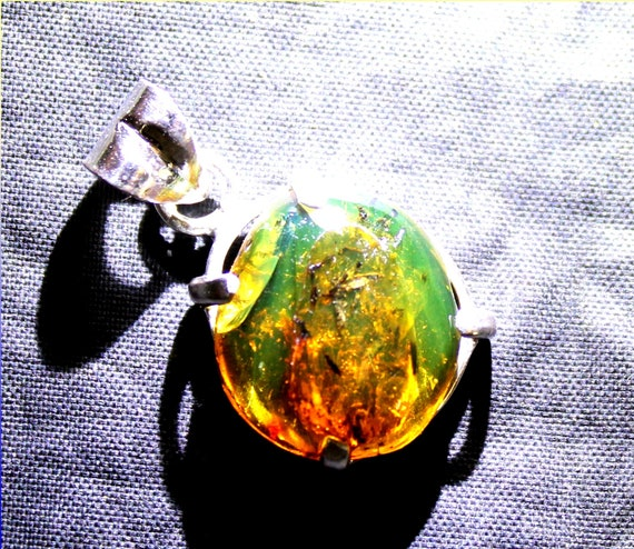 Dominican Natural Orange Green Fossil Worm Insect Amber .925 Sterling Silver Pendant 27mm