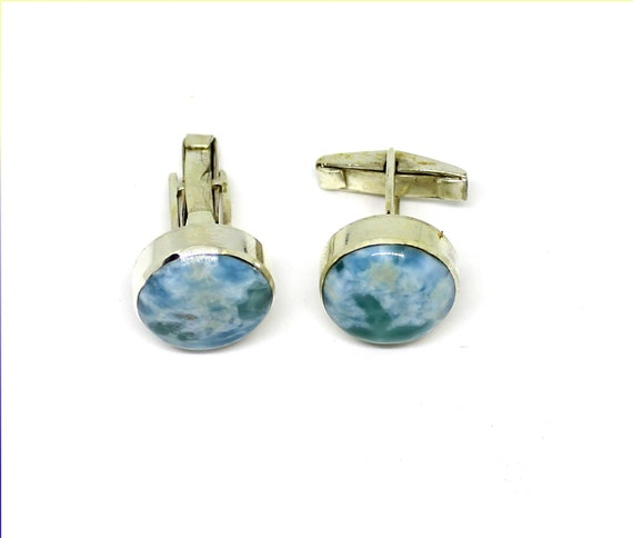 Excellent Natural Sea Blue Larimar .925 Sterling Silver Round Cufflinks  16mm