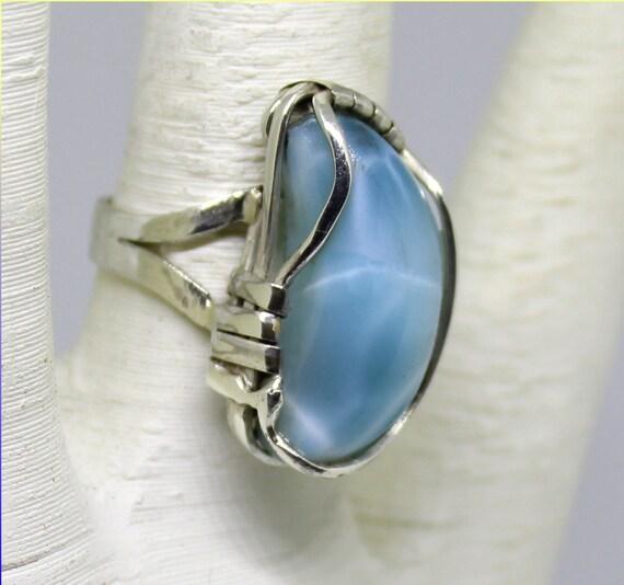 Splendid Natural Sky Blue AAA++ Larimar .925 Sterling Silver Ring #5