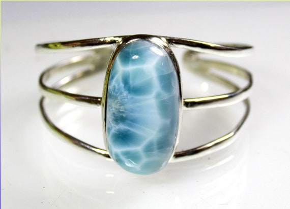 Outstanding 1.4inch big Sky Blue Larimar .925 Sterling Silver Bangle 180mm