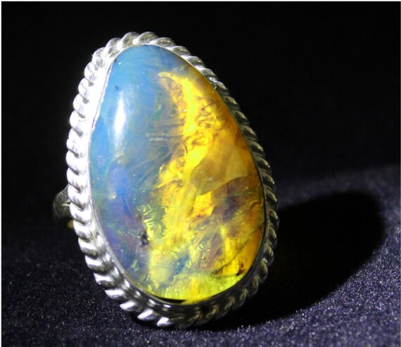 Premium Dominican Natural Clear Sky Blue Amber .925 Sterling Silver Ring #7.5