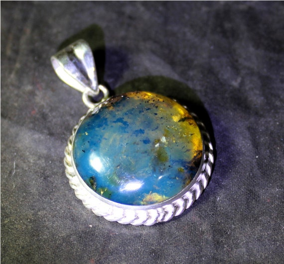 Outstanding 1.5inch Dominican Natural Genuine Clear Deep Blue Amber .925 Sterling Silver Pendant 38mm