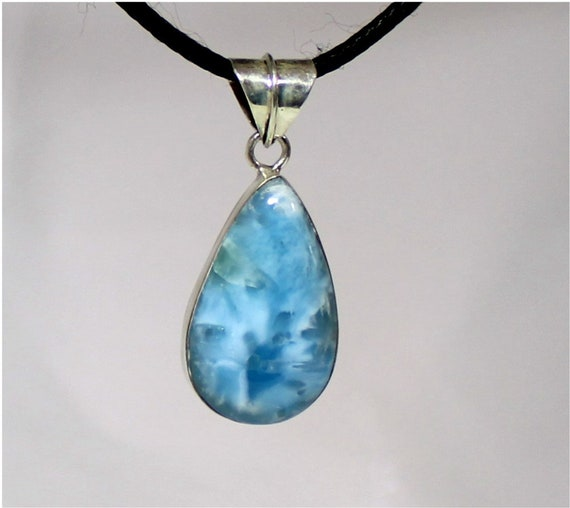 Exquisite Natural Sky Blue Larimar .925 Sterling Silver Pendant 2 inch