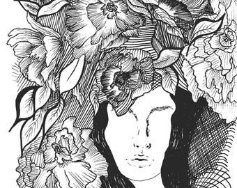 "Art Print ""Peeking Blindly"", Abstract Art, Flowers, Portrait, Geometry"