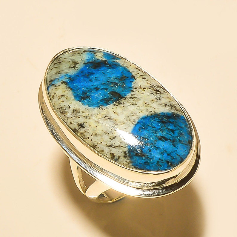 Natural Copper Azurite Gemstone Unique Jewelry Solid 925 Sterling Silver Ring Size 7.5