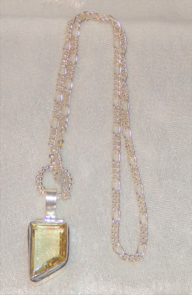 Gorgeous Fancy .925 Sterling Silver Faceted Citrine Necklace ~ An Elegant Unique Artwork Jewelry Piece ~ Gemstone of Success ~ One Of A Kind