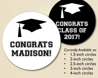 Graduation Stickers, Congrats Labels, Congratulations Graduate, Cap, High School, College, Class of 2017, Chalkboard Style, Black and White
