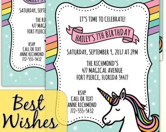 Unicorn Birthday Party Invitations - CUSTOM PRINTED Invites - Fantasy, Magical, Aqua, Pink, Lavender, Rainbow - optional envelopes
