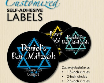 Bat Mitzvah Lollipop Sticker Chalkboard Star of David Treat Bag Personalized Bar Mitzvah Favor Labels Jewish Celebration Candy Buffet