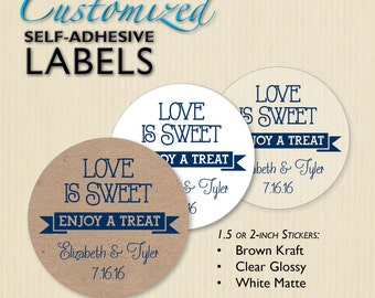 """Custom DARK BLUE """"Love is Sweet"""" Wedding Favor Label, Engagement Party, Rehearsal Dinner, Candy Bag Sticker, Navy Candy Buffet, Personalized"""