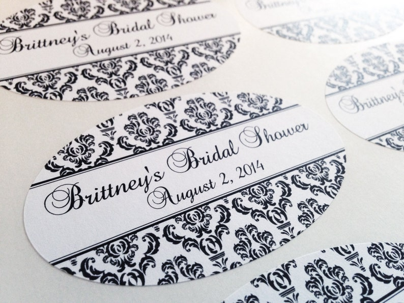 4d0fa05445f3a Custom 3.25x2 DAMASK Labels, Oval Sticker, Wedding Favors, Bridal Shower,  Engagement Party, Rehearsal Dinner Candles, Candy Bags, Mason Jar