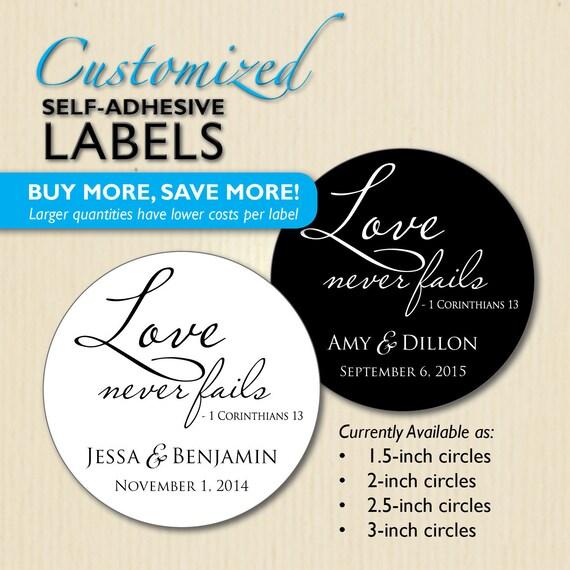 Love Never Fails Christian Wedding Favor Label 1 Corinthians Etsy