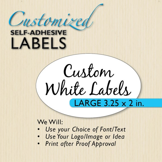 bb9e545583d76 3.25x2-in Custom Printed Oval Labels, Etsy Shop Product Packaging, White  Oval Sticker, Personalized Sticker, Wedding Favor Label, Mason Jars