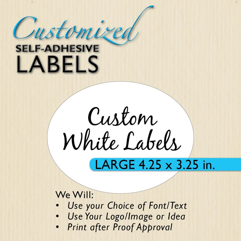 2b0af4126d43f CUSTOM OVAL LABELS, 4.25x3.25, Etsy Shop Product Packaging, Personalized  Sticker, Mail, Wedding Favor Label, Welcome Bags, Gable Box Sticker