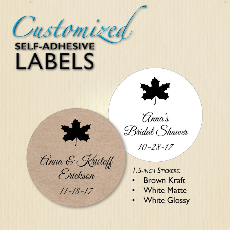 9a63c5c7003 Maple Leaf Sticker Fall Wedding Jar Label Rehearsal Dinner