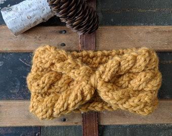 Mustard Headband, Warm Cabled Headband, Knit Earwarmer, Winter Headband, Handknit Headband, Etsy Canada, Manitoba Made - CABLES FOR DAYS