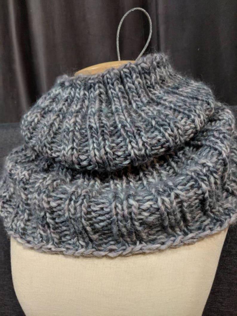 Buckingham Cowl 2.0 GREY Long Cowl Hand Knit Cowl Chunky Hand Knit Cowl Scarf Warm Wool Cowl,Slouchy Scarf