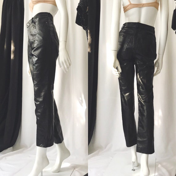 VINTAGE 1990s High Waist Leather Pants - Tapered l