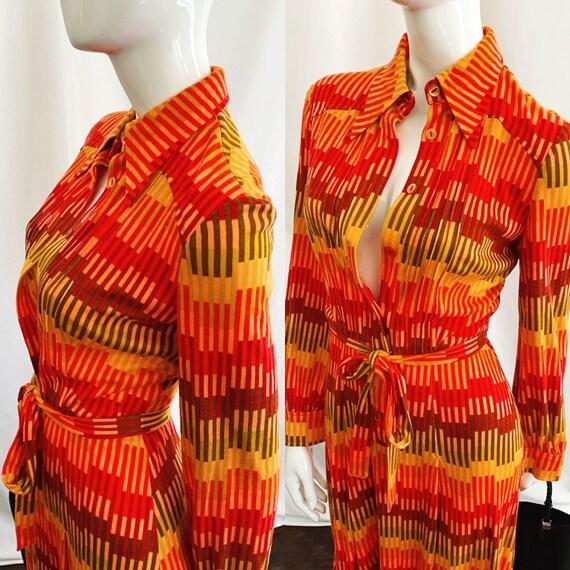 Vintage 70s Midi Shirt Dress - image 2