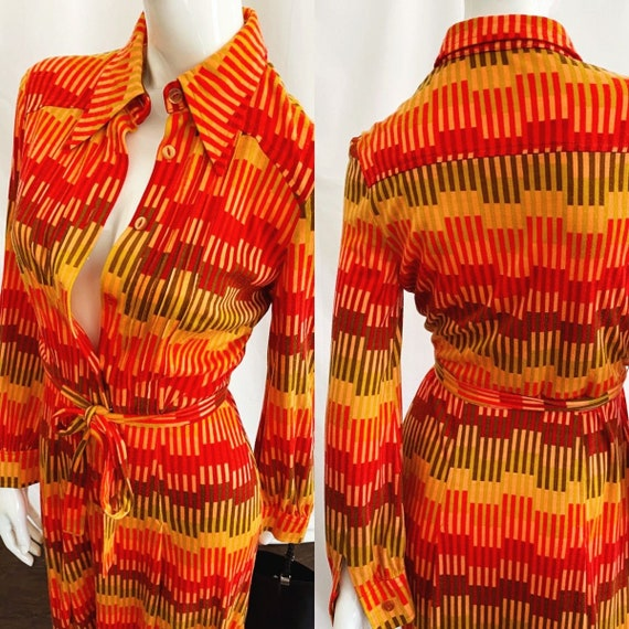 Vintage 70s Midi Shirt Dress - image 4