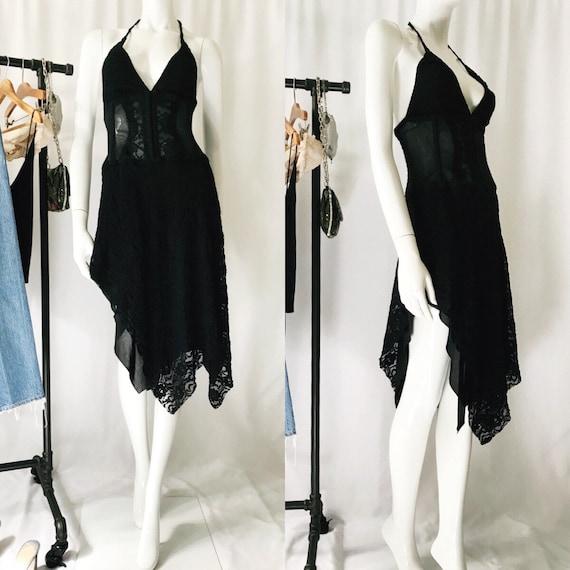 VINTAGE 1990s Lace Bustier Asymmetrical Dress