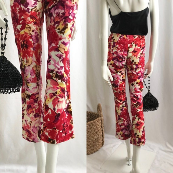 MOSCHINO Floral Mid Waist Ankle Pants