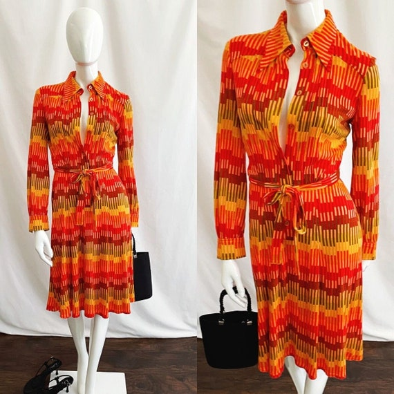 Vintage 70s Midi Shirt Dress - image 1