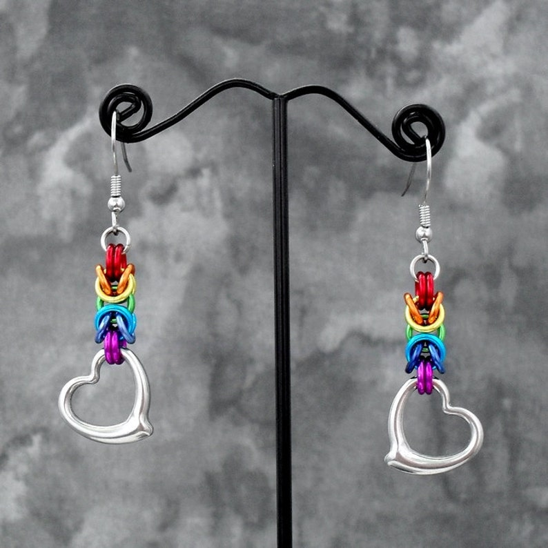 Rainbow Byzantine Heart Drop Chainmaille Earrings with Stainless Steel Ear Wires