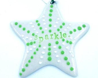 Porcelain sparkle star ornament