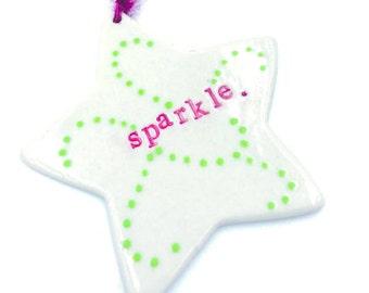 "Porcelain star ""sparkle"" ornament"