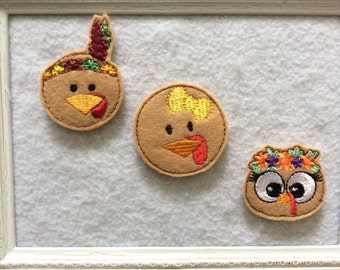 Turkey Feltie, Thanksgiving Feltie, Three to Choose, always Precut