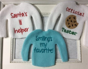 Sweater to fit one of Santa's elves, Three to Choose  Name is included