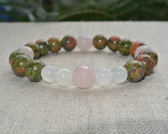 Fertility / Healthy Pregnancy Unakite,Moonstone & Faceted Rose Quartz Gemstone Bead Stretch Bracelet- Fertility Bracelet, Pregnancy Bracelet