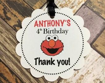 Stickers Abby /& Elmo Sesame Street Birthday Party Thank you round Favor Tags