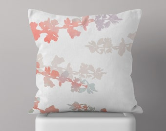 Cherry Blossom Throw Pillow, Couch Cushion, Spring Decor, Floral, Pastel, Pink, Watercolor, Botanical, Beige, Farmhouse, Vintage, Purple