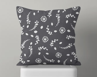 Gray Floral Throw Pillow, Decorative Pillow, Mid Century Modern, Mix and Match, Floral Pattern, Dandelion, Accent Pillow, Black and White