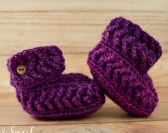 Baby Booties, 12 Month Booties, Girl Booties, Baby Shoes, Crochet Booties, Baby Photo Prop, Purple Crochet Booties, Purple Booties
