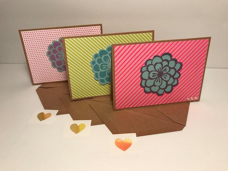 Flower Notecards with Envelopes and Envelope Seals Blank Handmade Floral Notecards Set of 3