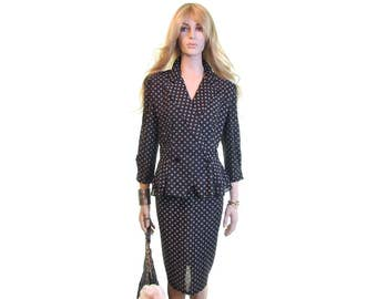 peplum jacket and skirt set peplum dress skirt suit 70s dress peplum dress black suit 70s clothing womens vintage clothing black white  m