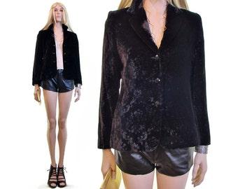 FRANKENWALDER velvet blazer velvet jacket burnout velvet crush velvet  jacket black velvet jacket women floral velvet jacket goth jacket s 36 56eed06ac