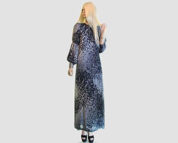 sheer leopard dress puff sleeve bishop sleeve / le