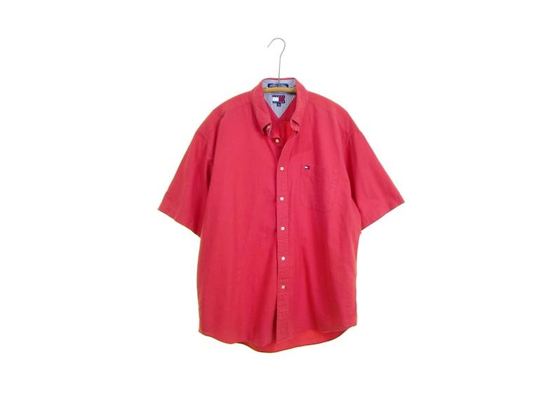 0dbfde71 TOMMY HILFIGER shirt faded cotton shirt red shirt oxford short | Etsy