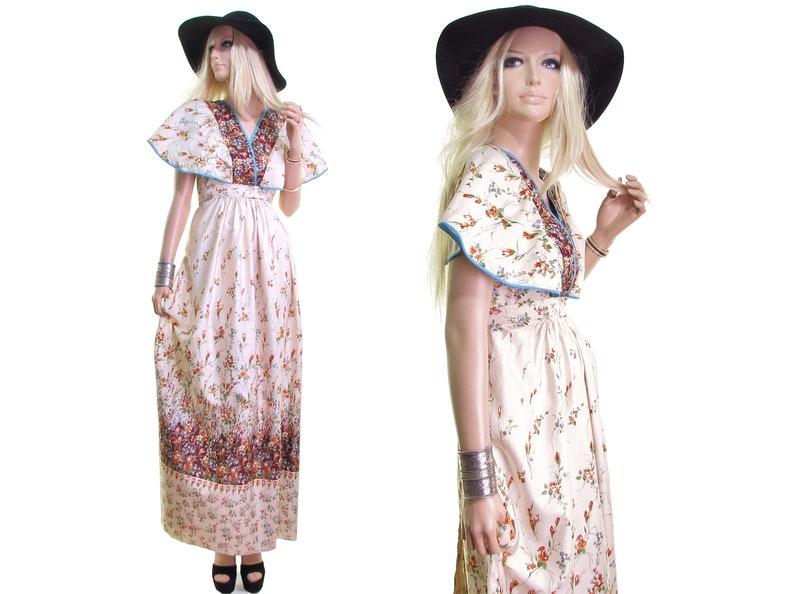 4f766f1a584 70s prairie dress vintage 70s dress 70s SILK dress floral