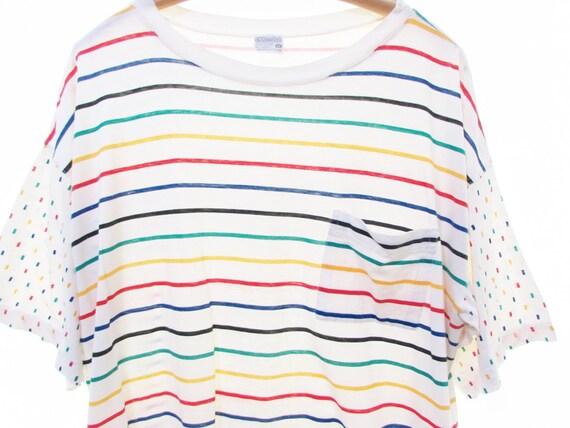 90s RAINBOW stripe shirt COTTON pocket tee oversi… - image 3